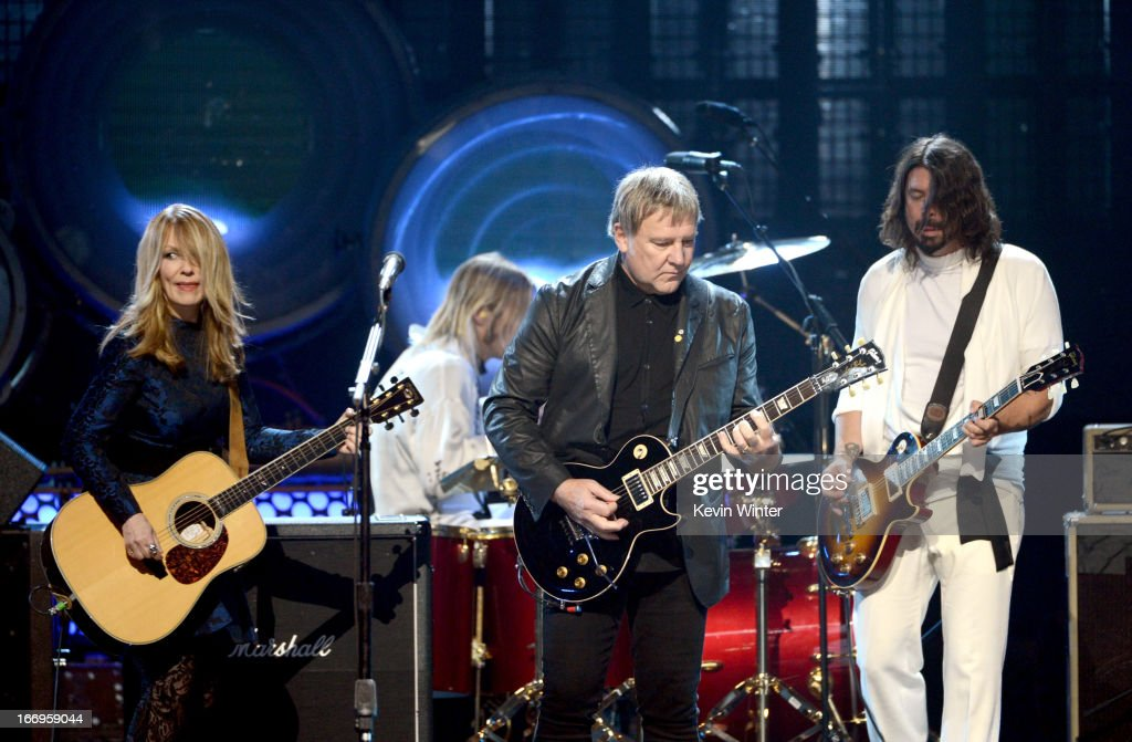 Inductees Nancy Wilson of Heart and Alex Lifeson of Rush and musician Dave Grohl of Foo Fighters perform onstage at the 28th Annual Rock and Roll...