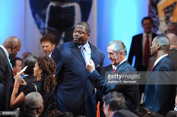 Inductees Patrick Ewing and Pat Riley converses prior to the 2008 Hall of Fame Enshrinement Ceremony on September 5 2008 at the Basketball Hall of...