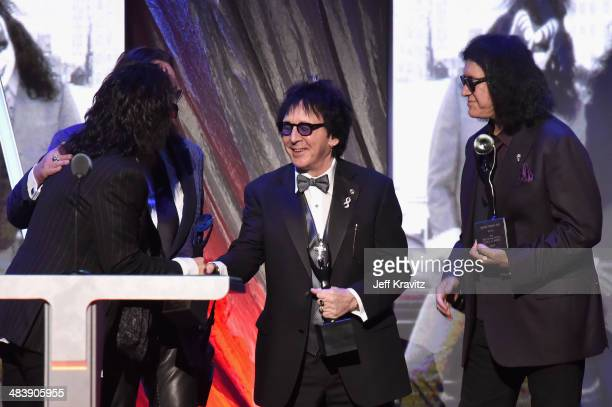 Inductees Paul Stanley Ace Frehley Peter Criss and Gene Simmons of KISS speak onstage at the 29th Annual Rock And Roll Hall Of Fame Induction...