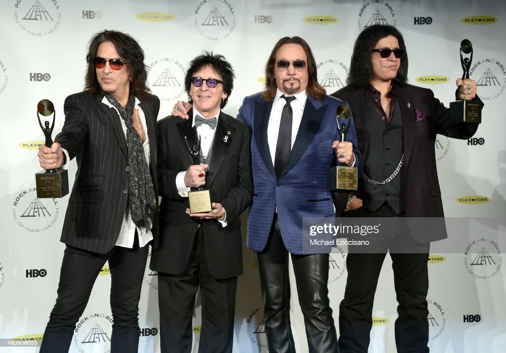 Inductees Paul Stanley, <a gi-track='captionPersonalityLinkClicked' href=/galleries/search?phrase=Peter+Criss&family=editorial&specificpeople=711301 ng-click='$event.stopPropagation()'>Peter Criss</a>, <a gi-track='captionPersonalityLinkClicked' href=/galleries/search?phrase=Ace+Frehley&family=editorial&specificpeople=226761 ng-click='$event.stopPropagation()'>Ace Frehley</a> and <a gi-track='captionPersonalityLinkClicked' href=/galleries/search?phrase=Gene+Simmons&family=editorial&specificpeople=138593 ng-click='$event.stopPropagation()'>Gene Simmons</a> of KISS attend the 29th Annual Rock And Roll Hall Of Fame Induction Ceremony at Barclays Center of Brooklyn on April 10, 2014 in New York City.