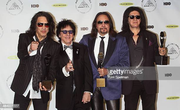 Inductees Paul Stanley Peter Criss Ace Frehley and Gene Simmons of KISS attend the 29th Annual Rock And Roll Hall Of Fame Induction Ceremony at...