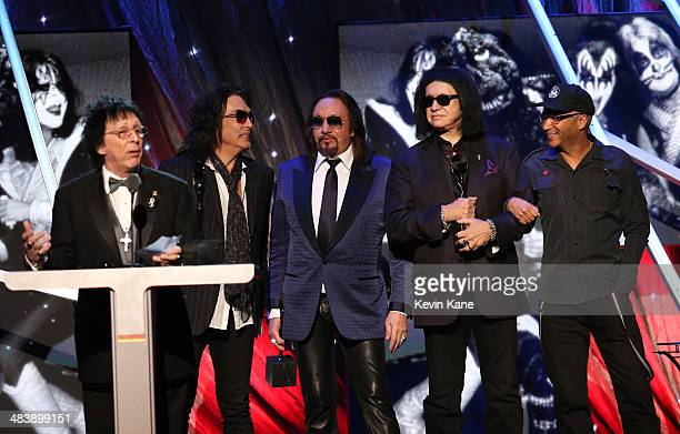 Inductees Peter Criss Paul Stanley Ace Frehley and Gene Simmons of KISS and musician Tom Morello speak onstage at the 29th Annual Rock And Roll Hall...