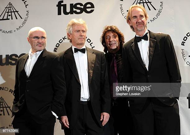 Inductees Phil Collins Tony Banks Steve Hackett and Mike Rutherford of Genesis attend the 25th Annual Rock And Roll Hall of Fame Induction Ceremony...
