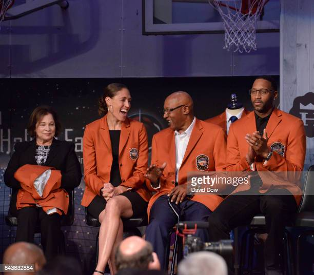 Inductees Rebecca Lobo George McGinnis and Tracy McGrady look on during the Class of 2017 Press Event as part of the 2017 Basketball Hall of Fame...