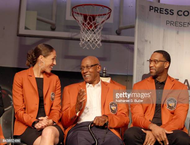 Inductees Rebecca Lobo George McGinnis and Tracy McGrady smile during the Class of 2017 Press Event as part of the 2017 Basketball Hall of Fame...