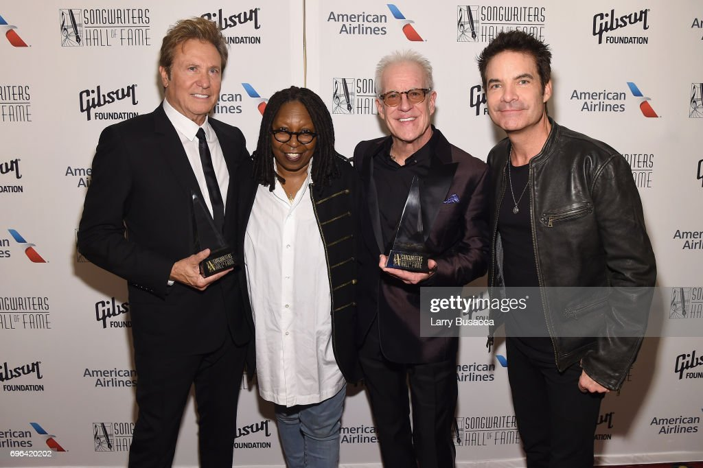 Inductees Robert Lamm (L) and James Pankow (2nd R), pose with Whoopi Goldberg and Pat Monahan (R) backstage at the Songwriters Hall Of Fame 48th Annual Induction and Awards at New York Marriott Marquis Hotel on June 15, 2017 in New York City.