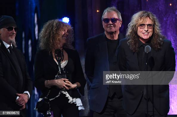 Inductees Roger Glover Ian Gillian and David Coverdale of Deep Purple speak on stage at the 31st Annual Rock And Roll Hall Of Fame Induction Ceremony...