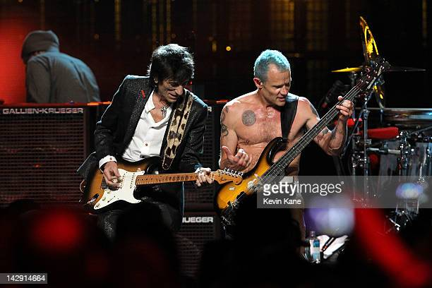 Inductees Ron Wood from Faces and Michael Balzary aka Flea of Red Hot Chili Peppers perform on stage during the 27th Annual Rock And Roll Hall Of...