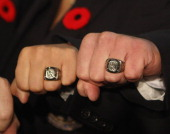 Inductees show off their Hall of Fame rings at the Hockey Hall of Fame induction ceremony at the Hockey Hall of Fame on November 8 2010 in Toronto...