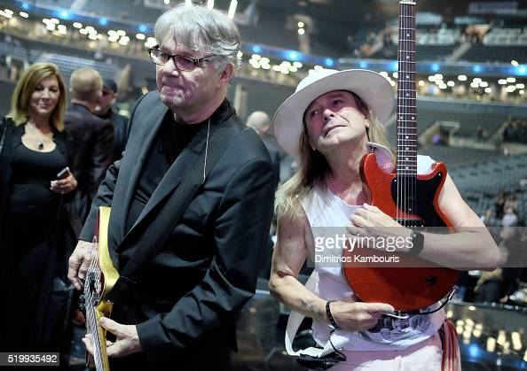 Inductees Steve Miller and Robin Zander of Cheap Trick pose on stage at the 31st Annual Rock And Roll Hall Of Fame Induction Ceremony at Barclays...