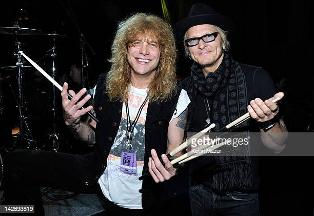 Inductees Steven Adler and Matt Sorum of Guns N' Roses attend the 27th Annual Rock And Roll Hall Of Fame Induction Ceremony at Public Hall on April...