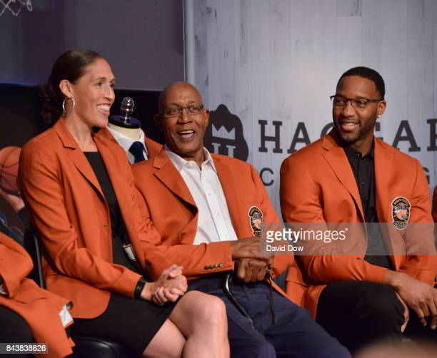Inductees Tracy McGrady George McGinnis and Rebecca Lobo look on during the Class of 2017 Press Event as part of the 2017 Basketball Hall of Fame...