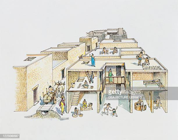 Indus civilization Mohenjodaro Reconstructed interior residential building Color illustration