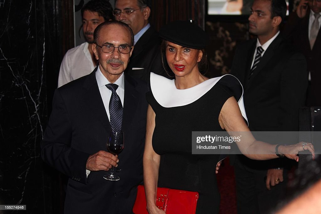 Industralist Adi Godrej with his wife Parmeshwar Godrej during a function to confer Aishwarya Rai Bachchan with French Knight of the Order of Arts and Letters for her contribution to the arts on November 1, 2012 in Mumbai, India. She also celebrated also celebrated her 39th birthday.