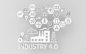Industrial 4.0 Cyber Physical Systems concept , Icon of industry 4.0 ,Internet of things network,smart factory solution,Manufacturing technology,automation robot with gray background , 3D illustration