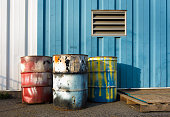colorful industrial 55 gallon drums