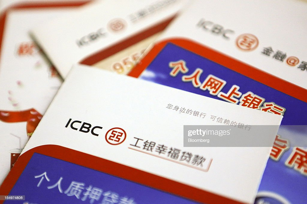 Industrial and Commercial Bank of China Ltd. (ICBC) brochures are arranged for a photograph in Beijing, China, on Monday, Oct. 29, 2012. ICBC is expected to announce third-quarter results on Oct. 30. Photographer: Nelson Ching/Bloomberg via Getty Images