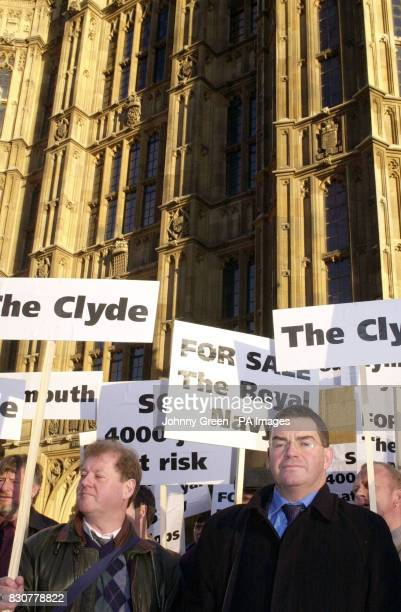Industrial and nonindustrial union members gather outside the House of Commons in central London to lobby parliament in an attempt to influence the...