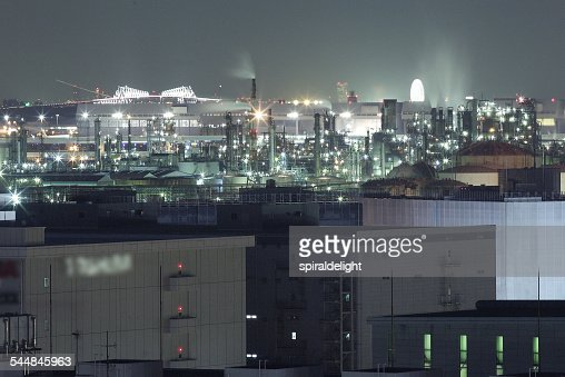 Industrial at night aerial