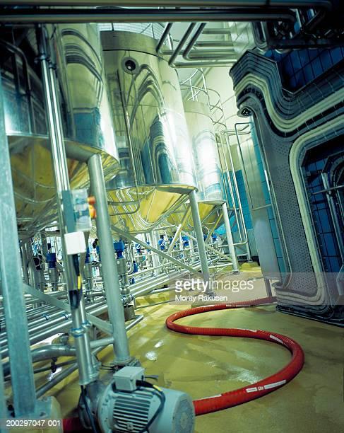 Industrial beer processing equipment in brewery