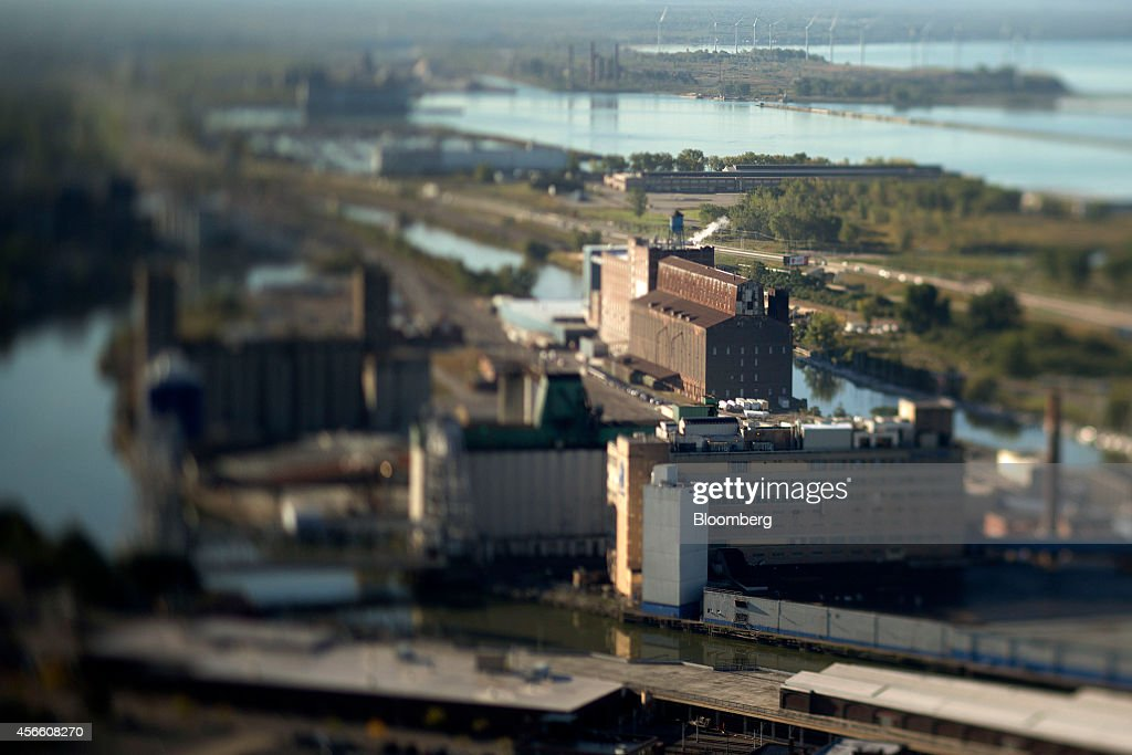 Industrial buildings stand in this photo taken with a tiltshift lens in Buffalo New York US on Wednesday Sept 24 2014 The Federal Reserve Bank of New...
