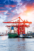 Industrial container freight Trade Port beautiful scene at sunset