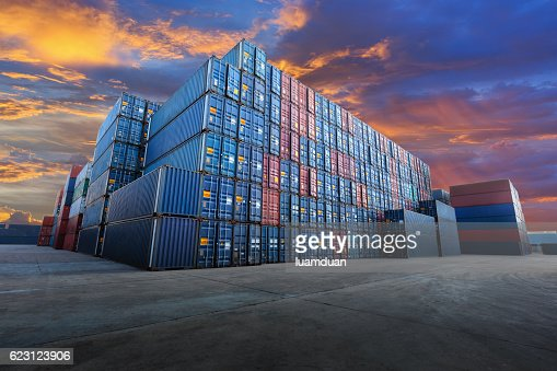 Industrial Container yard  for Logistic Import Export business : Stock Photo