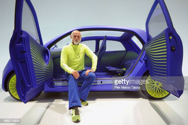 Industrial Designer Ross Lovegrove poses inside a concept car that he has designed for Renault at Triennale di Milano during 2013 Milan Design week...
