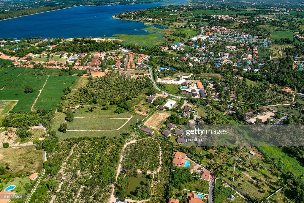 Industrial estate development in farm land Aerial photo : Stock-Foto