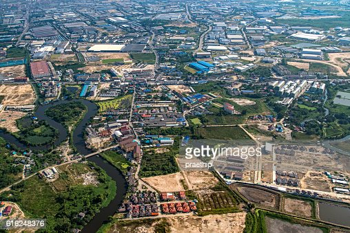 Industrial estate land development aerial view : Stock Photo