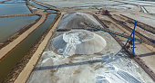 Industrial extraction of sea salt by evaporation. Aerial view.