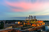 industrial factory with sunset light
