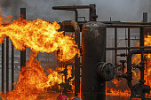 Industrial fire training for refinery or chemical plant fire brigade or fireman