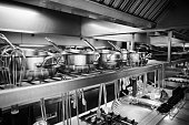 Industrial Kitchen - Pots and tools on shelves