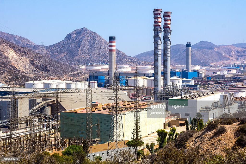 industrial park with log refineries : Stock Photo
