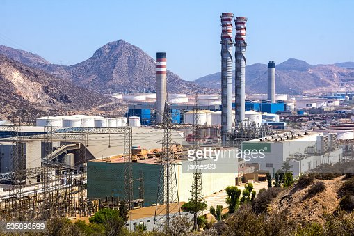 industrial park with log refineries : Stockfoto