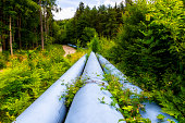 Industrial pipeline with gas and oil