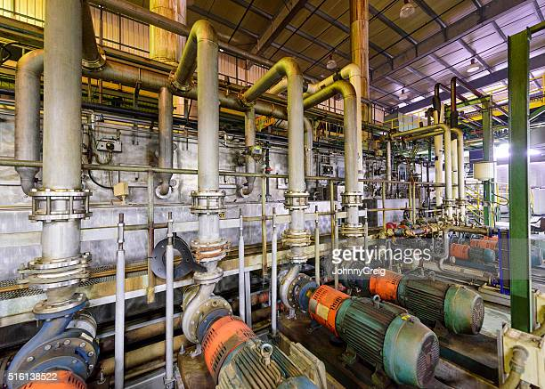 Industrial pipes inside aluminium processing plant