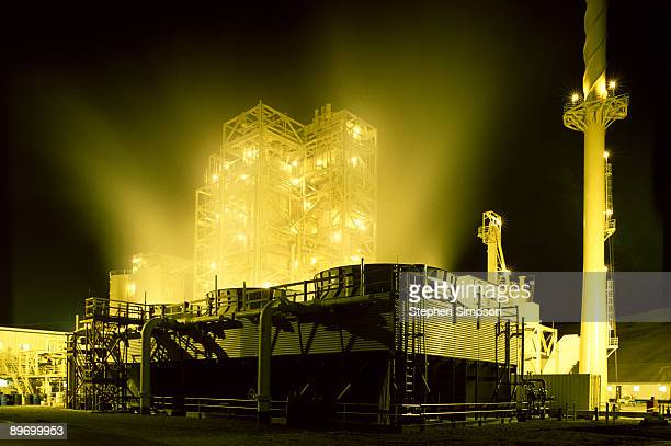 Industrial plant glowing at night