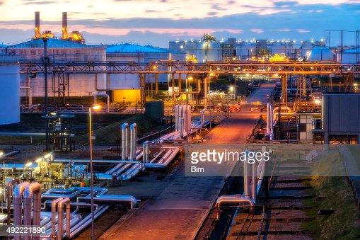 Industrial Plant Illuminated at Night