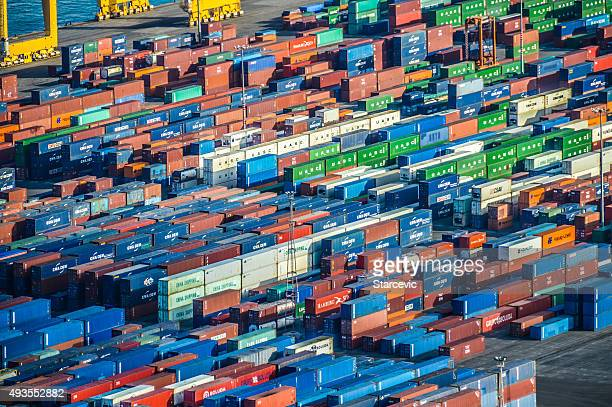 Industrial port with shipping containers