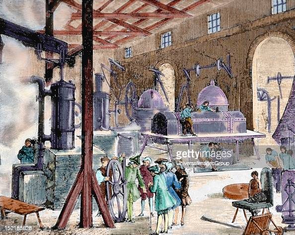 Industrial Revolution London Interior of an English factory Late 18th century Nineteenthcentury colored engraving