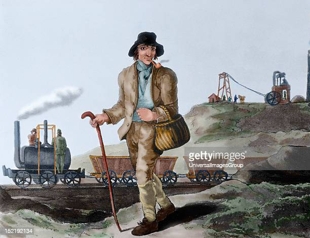 Industrial Revolution Nineteenth century English miner and transport of coal mined Engraving after a watercolor by George Walker Colored