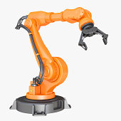 Industrial Robot Arm isolated on a white background, clipping path included