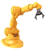 Industrial Robot Arm isolated on a white background. Abstract 3D model