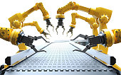 Industrial robotic arms with empty conveyor on white background belt 3D rendering