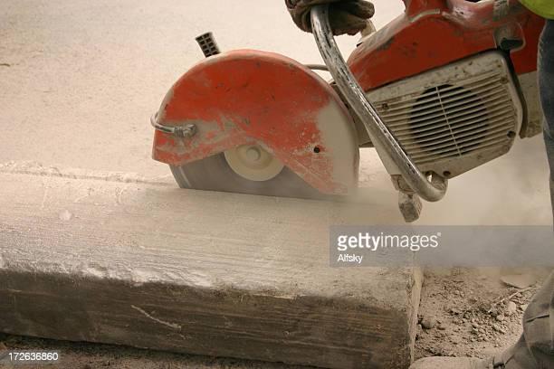 industrial saw cutting a kerb