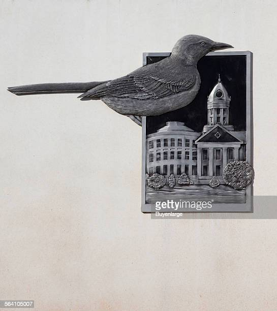 Industrial site logo in Monroeville Alabama showing the bird and the old Monroe County Courthouse used in the play To Kill a Mockingbird by resident...