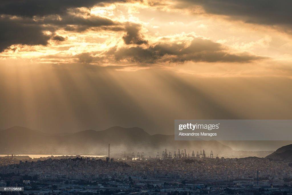 Industrial Sunset : Stock Photo