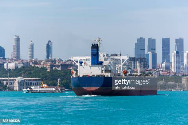 industrial tanker ship travel at bosphorus strait of istanbul turkey